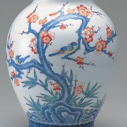 新胴花瓶―梅花双鳥文