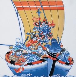 陶額−鍋島宝船七福神