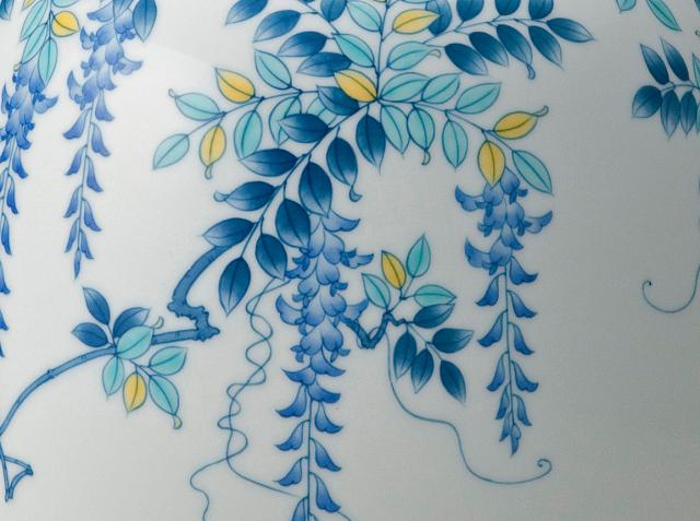 提灯花瓶−色絵藤(青)