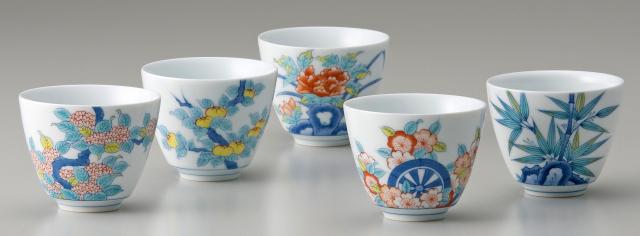 煎茶器-鍋島五種絵変り