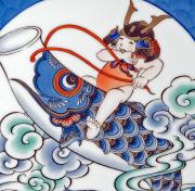 七寸陶額−瑞雲鯉のぼり図